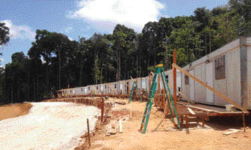 Worker accommodations under construction at Guyana Goldfields' Aurora project in northern Guyana.
