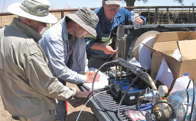 A crew analyzes water samples at the site of IC Potash's Ochoa project, which is scheduled to begin construction in mid-2014 with an estimated cost of more than $1 billion. (Photo courtesy of IC Potash Corp.)