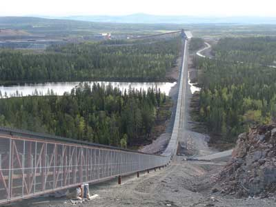 Sandvik HM150 formed conveyor rollers installed on an overland at the Aitik copper mine.