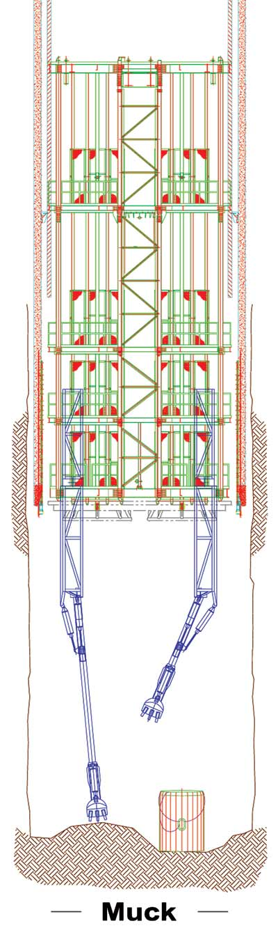 Diagram of vertical shaft muckers (VSMs) with a clam style bucket and pneumatically powered.