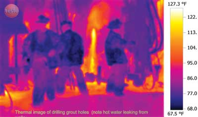 Thermal image of drilling grout holes (note hot water leaking from walls).