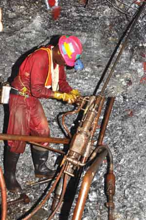 Rock drills are still used to prepare the roof of the work face for bolts. Previously all mining work was done by hand drilling.
