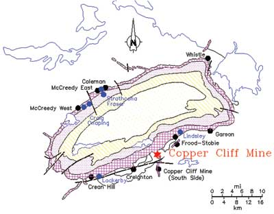 Figure 1—The Copper Cliff mine is located within the city limits of Greater Sudbury, Ontario, Canada, in a world-famous mining district.