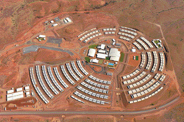 Aerial view of the 1,200-person-capacity Mine Worker Accommodation village at the Roy Hill iron ore mine in Western Australia. (Photo courtesy of Roy Hill Holdings)