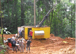 Typical drill site setup at the Montagne d'Or property. (Photo courtesy of Columbus Gold)