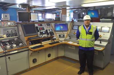 Domingos Valbom, general manager at De Beers Marine, in the Debmar Pacific control room.