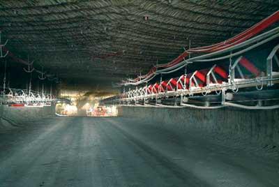 The main conveyor haulage at a K+S underground mine. (Photo courtesy of K+S)