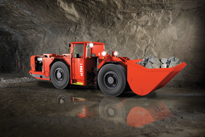 Sandvik's new LH204 LHD, pictured here, along with the upgraded LH410, offers the Vehicle Control and Management System for faster diagnostic troubleshooting and less downtime.