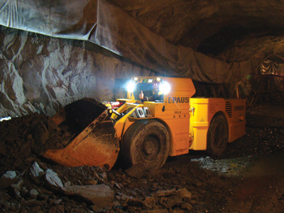 The Paus PFL 8 Z LHD at work in a Ukrainian iron-ore mine.