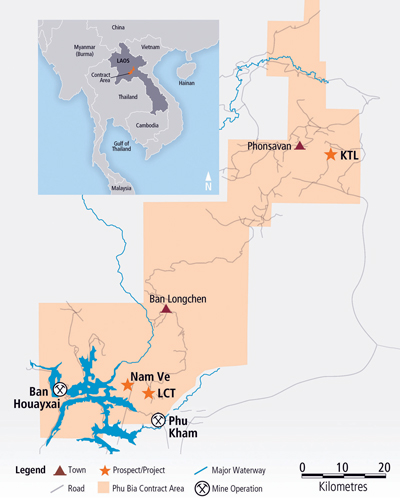 The Phu Bia contract area, which comprises the two operating mines and several other prospects.