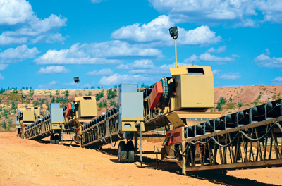 Baldor's System-1 group facilitated the order processing, packaging and preassembly of the Baldor equipment for the 21 grasshopper transfer conveyors. Because of the number of gearboxes, motors, pulleys and bearings required, Goodfellow managers say the System-1 team saved them valuable time.