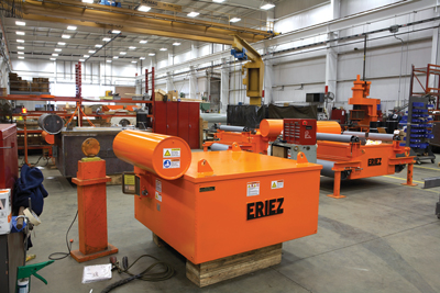 At the Eriez service center in Erie, Pennsylvania, USA, remanufactured equipment leaves the facility with an 'as new' warranty. A typical rebuild of a suspended electromagnet, as shown here, can include the coil, core, stud seals and oil expansion tank.