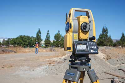 One-person operation with a Topcon DS total station.