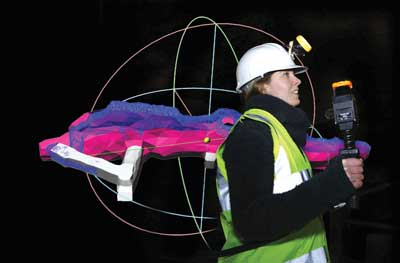 The ZEB1 handheld laser scanner produces 3-D images from data gathered at walking speed.