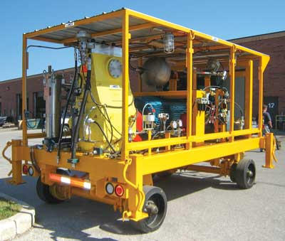 ConMico's 300-kW (400-hp) self-contained rig for hydraulic fracturing in block-cave orebodies.