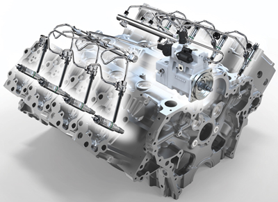 The high-pressure common rail fuel injection system shown in this X-ray view of a Liebherr diesel is an integral element in most engine suppliers' Tier 4 Final technology.