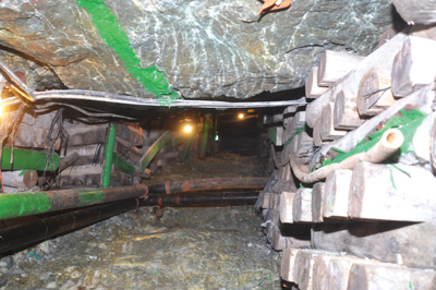 Extensive stoping in mined out areas is giving access to lower grade deposits known as 'white zones' to extend Driefontein's life.