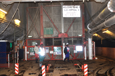 Mine workers have to take three different shafts to access the lower levels of Driefontein.
