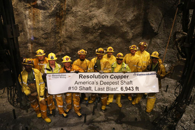 Resolution copper project accomplished a key milestone completing construction of the 28-ft diameter Shaft No. 10 to a final depth of 6,943 ft.