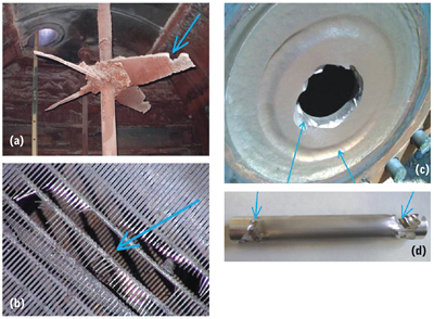 Figure 1—Industrial examples of erosion and wear that have been addressed: (a) an impeller, (b) screen, (c) orifice plate and (d) a rod (in a pipe).