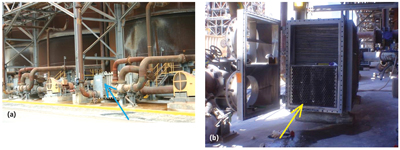 Figure 4—Design change dramatically improved wear life of Barriquand coolers at Rio Tinto's Yarwun alumina refinery in Queensland, Australia: (a) Barriquand coolers in operation at Yarwun; (b) perforated plate insert at inlet of the cooler.