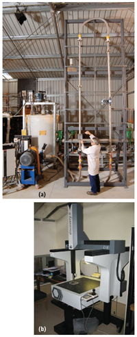 Figure 6—Slurry flow erosion test facility at CSIRO: (a) test section being installed, (b) Coordinate Measurement Machine to measure erosion distribution accurately (~5μm).