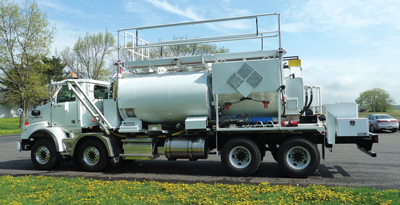 A blasthole-charging unit that Amerind custom-built on the owner's specified chassis.