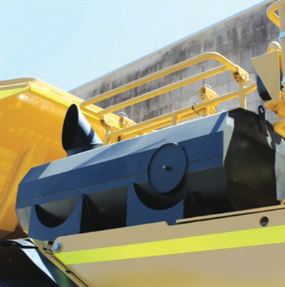 Equipment suppliers have approached the challenge of reducing diesel particulate content in mine air by employing active and passive methods. Shown here, Caterpillar's DPF is designed to work with its Ventilation Reduction (VR) Package on Cat LHDs and trucks. The DPF, says Cat, will not plug with particulates and ash and requires no additional service intervals for cleaning.