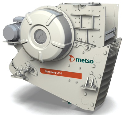 Metso claims the new Nordberg C130 jaw crusher is more productive because of its larger cavity volume, delivering higher output in high-capacity primary crushing applications.