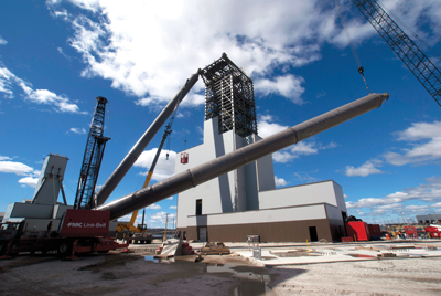 Headframe construction at Goldcorp's Éléonore mine in northern Québec, which came on stream in October