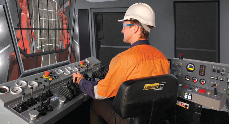 Conversion kits allow Immersive Technologies' basic simulator models to be conveniently and quickly set up to emulate different types of equipment. Shown here is Immersive's version of the Sandvik DD420 underground drill.