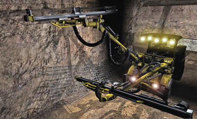 An off-the-machine view of drilling and mesh installation procedures using a ThoroughTec CYBERMINE simulator configured as an Atlas Copco 282 jumbo.