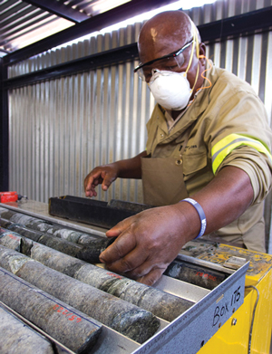 Cutting core at Platreef. Owner Ivanhoe Mines plans to develop the PGM mine in two phases, the first of which will cost an estimated $1.2 billion.