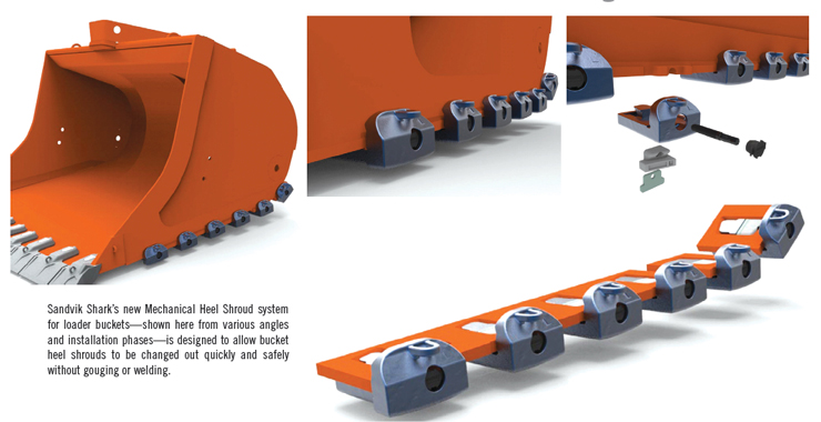 Sandvik Shark's new Mechanical Heel Shroud system for loader buckets