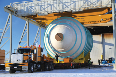 Process components built by Veolia, weighing as much as 180 metric tons and measuring up to 98 ft long, were recently transported over public roads to K+S Potash Canada's Legacy project site in Saskatchewan