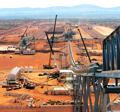 The train load-out at Rio Tinto's Nammuldi iron-ore mine; Aecom was the EPCM contractor.