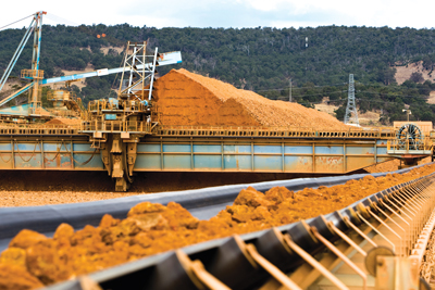 A bauxite stockpile at Wagerup in Western Australia, one of four alumina refineries in the state. (Photo courtesy of Alcoa)