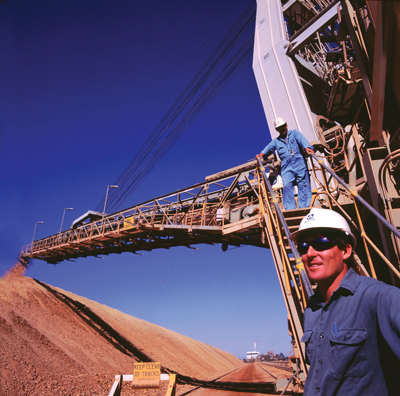 A bauxite stacker at Huntly in Western Australia, the world's largest individual producer. (Photo courtesy of Alcoa)