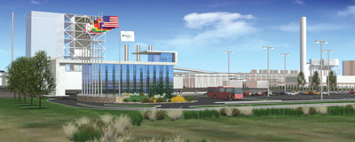 An artist's rendering illustrates the FutureGen plant; DOE pulled the plugin the power project.