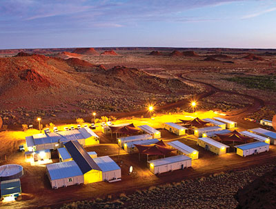 An aerial view of the work camp at the Cameco/Mitsubishi Development Kintyre uranium project.