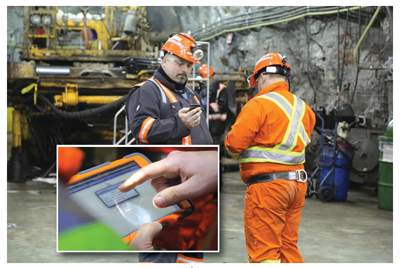 Miners use devices underground to connect to Éléonore's wireless communications network. (Photos courtesy of Cisco)