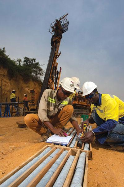 Logging drill core samples at Wassa.