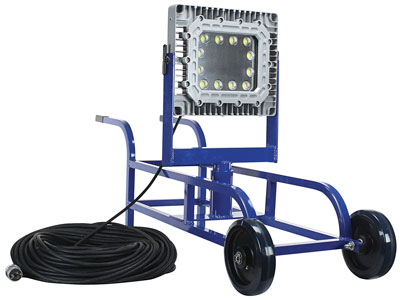 Larson Electronics has introduced a cart-mounted, explosion-proof LED light capable of producing a flood pattern of light to illuminate enclosed areas.