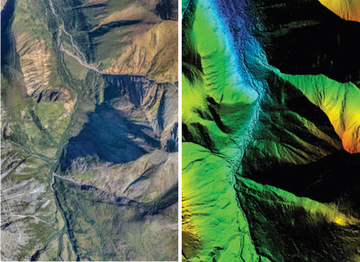 Drone imagery in cloud point format (left) can be enhanced with digital elevation models (DEM).