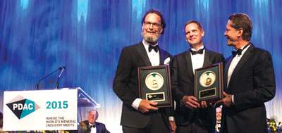 Ivanhoe Mines President Robert Friedland presented the Thayer Lindsley Award to two members of the Kamoa discovery team, Dr. David Broughton (left) and Thomas Rogers (center).