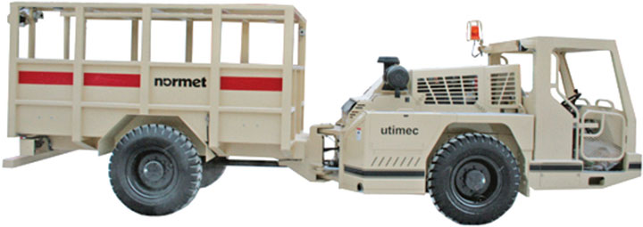 Normet's Utimec 6160 Per is a dedicated center-articulated, 16-person carrier.