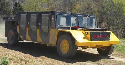 MSHA-approved for coal-industry use, Damascus Corp.'s MUTT can carry up to 12 people.