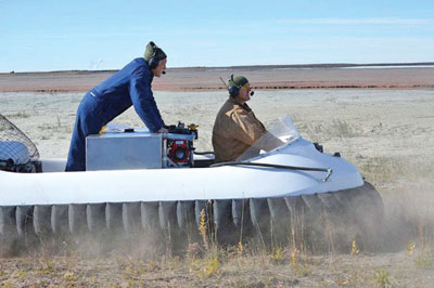 A landscape service company in the U.S. has been using hovercraft to apply sprayed dust-suppression chemicals on mine tailings that are too soft to support conventional vehicles.