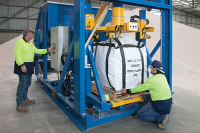 A recently installed Flexicon automatic bag filler now uses a loader-fed hopper