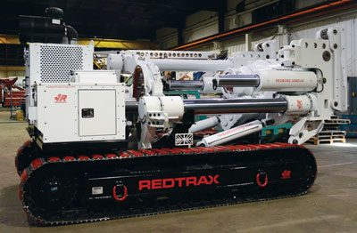 Redpath Raiseboring says it will deliver eight of its Redtrax raisedrill transporters to project sites this year, and more in 2016. The unit can accommodate Redpath's 30 through 70-series drills, plus other brands.